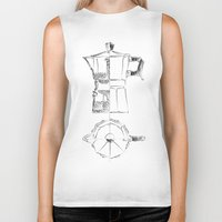 blueprint Biker Tanks featuring Coffee pot blueprint sketch  by Eltina Giannopoulou