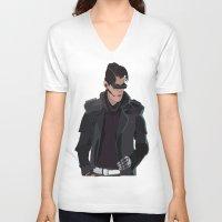 cyberpunk V-neck T-shirts featuring Cyberpunk Male Character by Jude Beavis