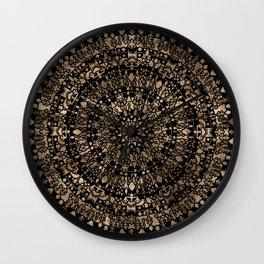 Ethnic Tribal Mandala Black and Gold Wall Clock