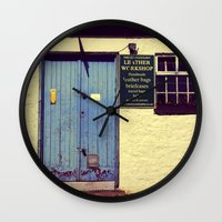 leather Wall Clocks featuring Leather Workshop by Loveandhorror