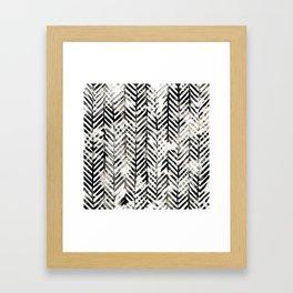Black and White Herringbone Framed Art Print