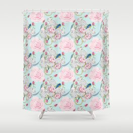 Bluebirds and Shabby Chic Roses on Paris Blue Shower Curtain
