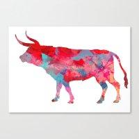 bull Canvas Prints featuring Bull by WatercolorGirlArt