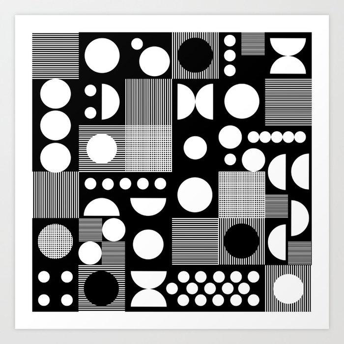 Black And White Minimal Pattern Abstract Scandi Design Geometric Shapes Art Print By Monoo
