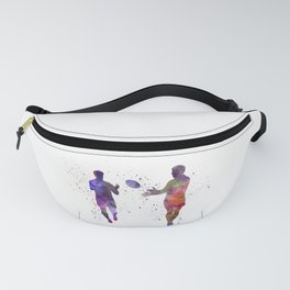 Rugby men players 04 in watercolor Fanny Pack