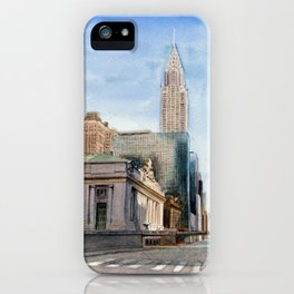Grand Central Station and the Chrysler Building I iPhone Case