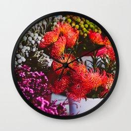 Pincushion Protea at Mong Kok Flower Market Wall Clock