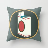cigarette Throw Pillows featuring cigarette by Simon Khoo's Illustration