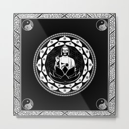 Buddha Black & White Yin & Yang Flower Of Life Metal Print