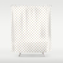 Mini Gold Metallic Faux Foil Photo-Effect Bees on White Shower Curtain