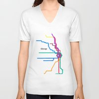 subway V-neck T-shirts featuring Chicago Subway by Abstract Graph Designs