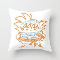 goku Throw Pillows featuring Cheeseburger Goku by Philip Tseng