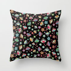 My small flowers on black Throw Pillow