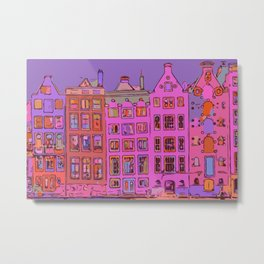 Canal houses Amsterdam the Netherlands Metal Print