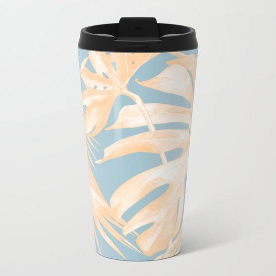 Tropical Leaves Citrus on Ocean Blue Metal Travel Mug