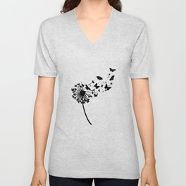 A Black Blowball Dandelion With Butterflies Make A Wish Unisex V-Neck