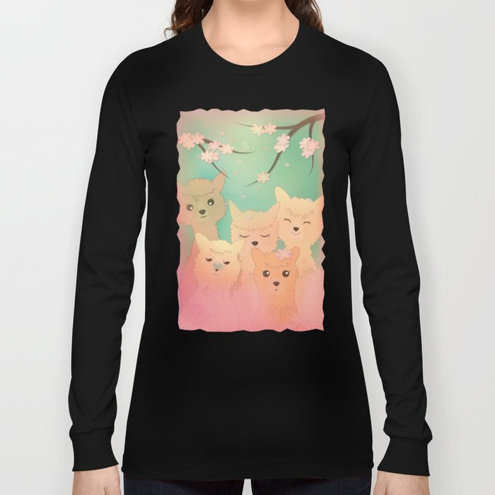 Alpaca Family II - Mint Green Spring Cherry Blossom Background Long Sleeve T-shirt