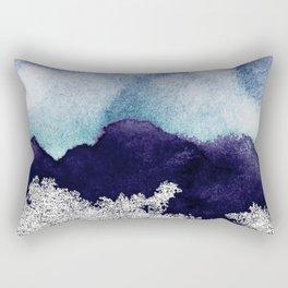Silver foil on blue indigo paint Rectangular Pillow