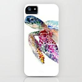 Sea Turtle, swimming turtle art, purple blue design animal art iPhone Case