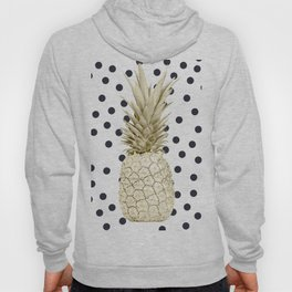 Gold Pineapple on Black and White Polka Dots Hoody