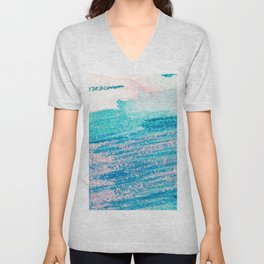 Abstract hand painted blue teal pink watercolor brushstrokes Unisex V-Neck