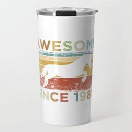 "Birthday Shirt For Those Whose Birthday Is Coming Near ""Awesome Since 1980"" T-shirt Design Kiss Travel Mug"