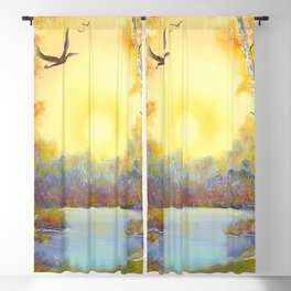 Evening Forest. russian nature. sunset Blackout Curtain