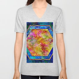 Hexagon in Complementary Colors Unisex V-Neck