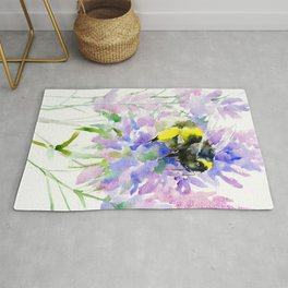 Bumblebee and Lavender Flowers, nature bee honey making decor Rug