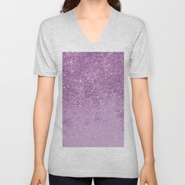 Abstract glam violet lilac marble glitter Unisex V-Neck