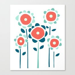 Coral and Aqua Garden of Flowers Canvas Print