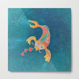 Breathing Love - Goldfish, Koi, Hearts Metal Print