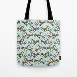 Cute Mama Birds Heart Love Blue and Pink Tote Bag