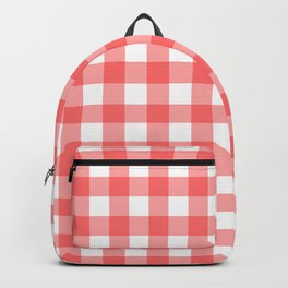 Red gingham fabric cloth, seamless pattern Backpack