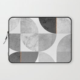 Marble Gray Copper Black and white circles Laptop Sleeve