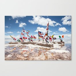 Salar de Uyuni International Flags Canvas Print