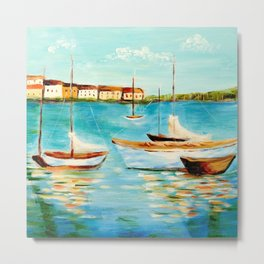 Sailboats at Sea Metal Print