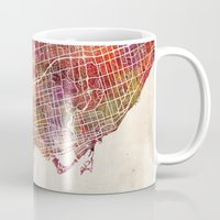 toronto Mugs featuring Toronto by MapMapMaps.Watercolors