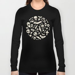 Halloween Symbols Pattern Contrast Long Sleeve T-shirt
