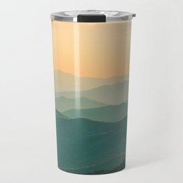 Landscape Photography Teal Turquoise Green Parallax Mountains Hills Orange Sunset Sky Minimalist Pho Travel Mug