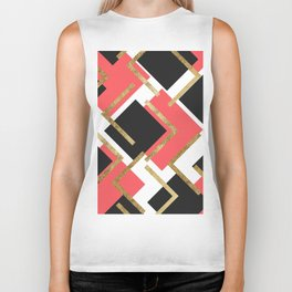 Chic Coral Pink Black and Gold Square Geometric Biker Tank