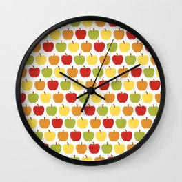 Apples Over White Wall Clock
