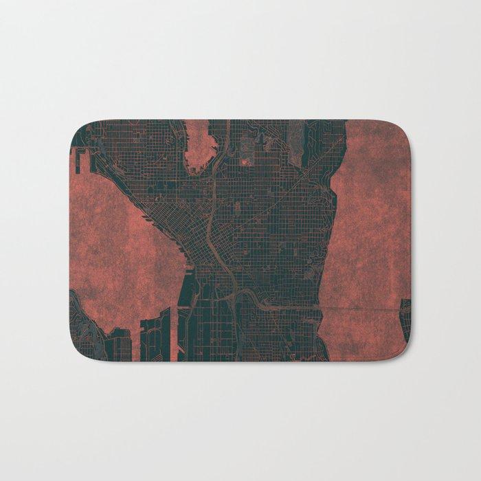 Seattle Map Red Bath Mat