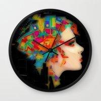 glitch Wall Clocks featuring Glitch by Steve W Schwartz Art