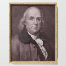 Vintage Benjamin Franklin Portrait Serving Tray