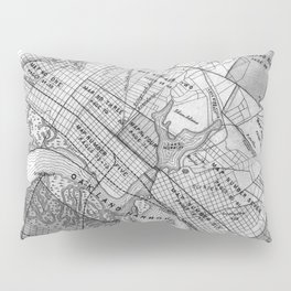 Vintage Map of Oakland California (1878) BW Pillow Sham