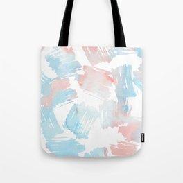 Pastel coral teal modern watercolor paint brushstrokes Tote Bag