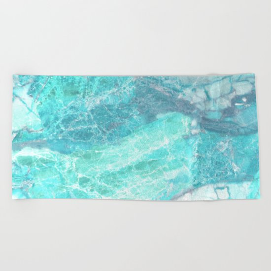 Marble Turquoise Blue Agate Beach Towel