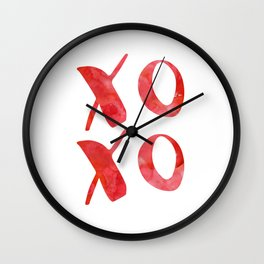 xoxo red watercolor Wall Clock
