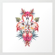 Flamingos Tropicales Art Print